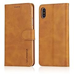 Недорогие Кейсы для iPhone 7-Кейс для Назначение Apple iPhone X iPhone 8 Plus Бумажник для карт Кошелек со стендом Чехол Сплошной цвет Твердый Кожа PU для iPhone X