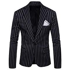 ieftine Blazer & Costume de Bărbați-Bărbați Zilnic / Concediu Activ Primăvară / Toamnă Mărime Plus Size Regular Blazer, Dungi Guler Cămașă Manșon Lung Poliester Negru / Roșu-aprins / Gri XXL / XXXL / 4XL / Zvelt