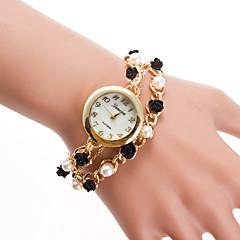 preiswerte Damenuhren-Damen Armband-Uhr Quartz Armbanduhren für den Alltag Legierung Band Analog Perlen Modisch Gold - Gold