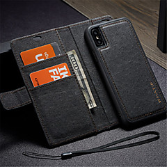 Недорогие Кейсы для iPhone-Кейс для Назначение Apple iPhone X Кошелек / Бумажник для карт / со стендом Чехол Сплошной цвет Твердый Кожа PU для iPhone X / Своими руками