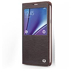 Недорогие Чехлы и кейсы для Galaxy Note 5-Кейс для Назначение SSamsung Galaxy Note 8 Note 5 Защита от удара с окошком Флип Чехол Полосы / волосы Твердый Настоящая кожа для Note 5