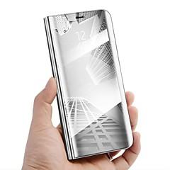 Недорогие Чехлы и кейсы для Galaxy Note 5-Кейс для Назначение SSamsung Galaxy Note 8 со стендом / Зеркальная поверхность / Флип Чехол Однотонный Твердый Кожа PU для Note 8 / Note 5