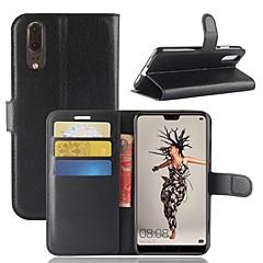 voordelige Hoesjes / covers voor Huawei-hoesje Voor Huawei P20 lite P20 Kaarthouder Portemonnee Flip Magnetisch Volledig hoesje Effen Hard PU-nahka voor Huawei P20 lite Huawei