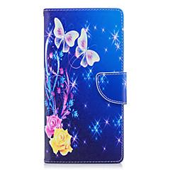 Недорогие Чехлы и кейсы для Sony-Кейс для Назначение Sony Xperia L2 Xperia XA2 Ultra Бумажник для карт Кошелек со стендом Флип С узором Чехол Бабочка Твердый Кожа PU для