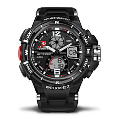preiswerte Digitaluhren-Herrn / Damen Armbanduhren für den Alltag / Sportuhr Japanisch Kalender / Wasserdicht / Duale Zeitzonen Caucho Band Luxus Schwarz / Stopuhr