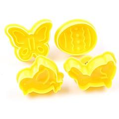 お買い得  ベイキング用品&ガジェット-4本の蝶のウサギのひよこのイースターの卵の形の動物のプラスチック製のフォンダンクッキーのカッターケーキの金型