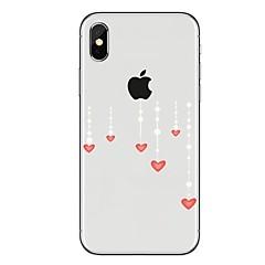 Недорогие Кейсы для iPhone-Кейс для Назначение Apple iPhone X iPhone 8 Прозрачный С узором Кейс на заднюю панель С сердцем Мягкий ТПУ для iPhone X iPhone 8 Pluss