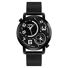 preiswerte Herrenuhren-SKMEI Herrn Armbanduhren für den Alltag Modeuhr Quartz 30 m Wasserdicht Armbanduhren für den Alltag Edelstahl Band Analog Freizeit Schwarz - Schwarz Rot Blau