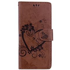 Недорогие Чехлы и кейсы для Galaxy Note 5-Кейс для Назначение SSamsung Galaxy Note 8 Note 5 Бумажник для карт Кошелек со стендом Флип Рельефный Чехол Сплошной цвет Бабочка Твердый