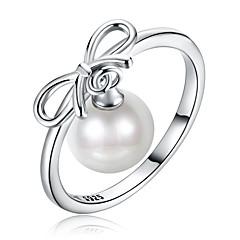 preiswerte Ringe-Damen Bandring - Sterling Silber, Künstliche Perle, Zirkon Klassisch 8 / 9 Silber Für Alltag / Arbeit
