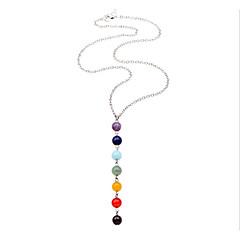 preiswerte Halsketten-Damen Kristall Amethyst Anhängerketten - Edelstahl Einfach, Süß, Mehrfarbig Regenbogen Modische Halsketten Schmuck Für Geschenk, Alltag