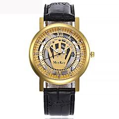 preiswerte Damenuhren-Herrn Damen Quartz Armbanduhr Kleideruhr Japanisch Chronograph Transparentes Ziffernblatt Armbanduhren für den Alltag Leder Band Luxus