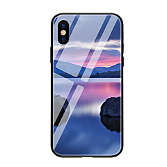 Недорогие Кейсы для iPhone 7-Кейс для Назначение Apple iPhone X / iPhone 8 С узором Кейс на заднюю панель Пейзаж Твердый Закаленное стекло для iPhone X / iPhone 8 Pluss / iPhone 8