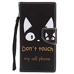 Недорогие Чехлы и кейсы для Sony-Кейс для Назначение Sony Xperia XZ1 Compact Xperia XZ1 Бумажник для карт Кошелек со стендом Флип Магнитный Чехол Кот Твердый Кожа PU для