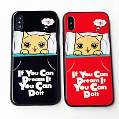 Недорогие Кейсы для iPhone X-Кейс для Назначение Apple iPhone X iPhone 8 Защита от удара С узором Кейс на заднюю панель Кот Слова / выражения Мультипликация Твердый