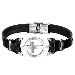 Недорогие Браслеты-Муж. Кожаные браслеты Мода Нержавеющая сталь Кожа Черный Крест Бижутерия Повседневные Бижутерия