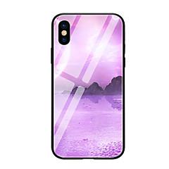 Недорогие Кейсы для iPhone 5-Кейс для Назначение Apple iPhone X iPhone 8 С узором Кейс на заднюю панель Пейзаж Твердый Закаленное стекло для iPhone X iPhone 8 Pluss