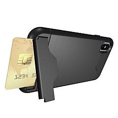 Недорогие Кейсы для iPhone 7 Plus-Кейс для Назначение Apple iPhone X iPhone 8 Бумажник для карт Защита от удара со стендом Кейс на заднюю панель броня Мягкий ТПУ для