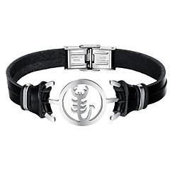 Недорогие Браслеты-Муж. Кожаные браслеты Мода Нержавеющая сталь Кожа Черный Rabbit скорпион Бижутерия Повседневные Бижутерия