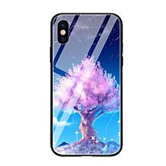 Недорогие Кейсы для iPhone 6 Plus-Кейс для Назначение Apple iPhone X iPhone 8 С узором Кейс на заднюю панель дерево Твердый Закаленное стекло для iPhone X iPhone 8 Pluss