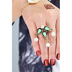 お買い得  指輪-人造真珠 / 合金 ドロップ ステートメントリング - 円形 ベーシック / ファッション グリーン / ピンク リング 用途 日常 / デート