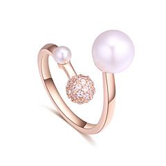 お買い得  指輪-女性用 バンドリング  -  人造真珠, ジルコン, 銅 ボール型 シンプル, 欧風, ファッション 調整可 シルバー / ローズゴールド 用途 結婚式 パーティー
