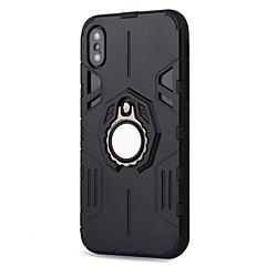 Недорогие Кейсы для iPhone X-Кейс для Назначение Apple iPhone X iPhone 8 Plus Защита от удара Кольца-держатели Магнитный броня Кейс на заднюю панель броня Твердый ПК