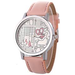 preiswerte Damenuhren-Damen Quartz Modeuhr Chinesisch Armbanduhren für den Alltag PU Band Modisch Cool Schwarz Weiß Blau Orange Braun Rosa