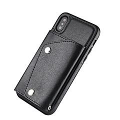 Недорогие Кейсы для iPhone 6 Plus-Кейс для Назначение Apple iPhone X iPhone 8 Plus Бумажник для карт Кошелек Кейс на заднюю панель Однотонный Твердый Настоящая кожа для