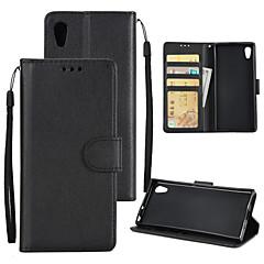 Недорогие Чехлы и кейсы для Sony-Кейс для Назначение Sony Xperia XA1 Plus Xperia XA1 Бумажник для карт Кошелек Защита от удара Флип Чехол Однотонный Твердый Кожа PU для