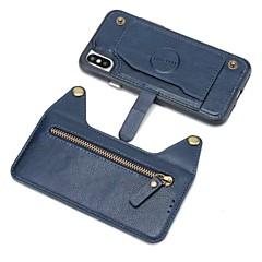 Недорогие Кейсы для iPhone X-Кейс для Назначение Apple iPhone X iPhone 8 Plus Бумажник для карт Кошелек Кейс на заднюю панель Однотонный Твердый Настоящая кожа для