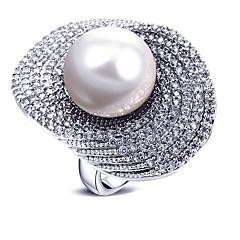 preiswerte Ringe-Damen Perle Statement-Ring - Perle, Zirkon Europäisch, Modisch, überdimensional 6 / 7 / 8 / 9 Weiß / Grau Für Party Geschenk