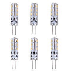 cheap LED Bulbs-6pcs 1W 90lm G4 LED Bi-pin Lights T 24 LED Beads SMD 3014 Decorative Green Blue Red 12V