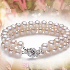 preiswerte Armbänder-Damen Perle Süßwasserperle Strang-Armbänder - Perle, Süßwasserperle Kugel Klassisch, Modisch Armbänder Weiß Für Party Alltag