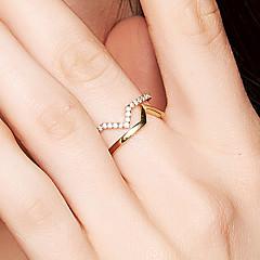 preiswerte Ringe-Damen Kubikzirkonia Bandring - 18K vergoldet, S925 Sterling Silber Zierlich, Retro, Elegant Verstellbar Gold Für Geburtstag Geschenk