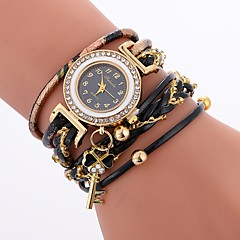 お買い得  レディース腕時計-女性用 ブレスレットウォッチ クォーツ カジュアルウォッチ 模造ダイヤモンド PU バンド ハンズ カジュアル ボヘミアンスタイル ブラック / 白 / ブルー - Brown レッド ブルー 1年間 電池寿命