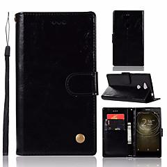 Недорогие Чехлы и кейсы для Sony-Кейс для Назначение Sony Xperia L2 Кошелек / Бумажник для карт / со стендом Чехол Однотонный Твердый Кожа PU для Xperia L2