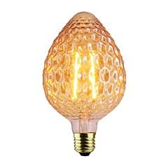 billige LED-lyspærer-1pc 2W 140-220lm E26 / E27 LED-glødetrådspærer A80 2 LED Perler COB Dæmpbar Varm hvid 220-240V