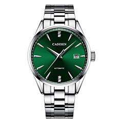 お買い得  メンズ腕時計-CADISEN 男性用 機械式時計 日本産 50 m 耐水 カレンダー ステンレス バンド ハンズ ぜいたく ファッション シルバー - ブラック グリーン ブルー
