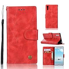 Недорогие Чехлы и кейсы для Sony-Кейс для Назначение Sony Xperia XZ Кошелек / Бумажник для карт / со стендом Чехол Однотонный Твердый Кожа PU для Sony Xperia XZ