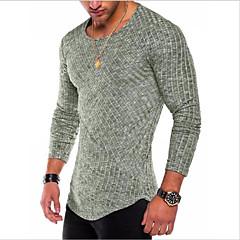 hesapli Erkek Üst Giyim-Erkek Pamuklu Yuvarlak Yaka Tişört Solid Temel / Uzun Kollu