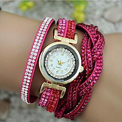 お買い得  レディース腕時計-女性用 ブレスレットウォッチ 中国 カジュアルウォッチ PU バンド 光沢タイプ / ファッション ブラック / 白 / ブルー