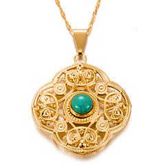 preiswerte Halsketten-Damen Türkis Anhängerketten  -  vergoldet Retro, Böhmische Gold 7#5#1 cm Modische Halsketten Für Party / Abend