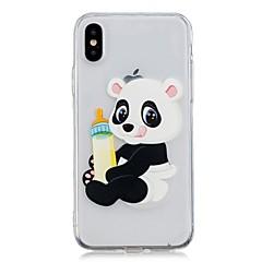 Недорогие Кейсы для iPhone X-Кейс для Назначение Apple iPhone X / iPhone 8 Plus Прозрачный / С узором Кейс на заднюю панель Панда Мягкий ТПУ для iPhone X / iPhone 8