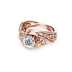 preiswerte Ringe-Synthetischer Diamant Verlobungsring - Kupfer, Rose Gold überzogen Kugel Urlaub, Modisch 6 / 7 / 8 Champagner Für Party / Verabredung