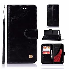 お買い得  その他のケース-ケース 用途 OPPO R11 ウォレット / カードホルダー / スタンド付き フルボディーケース ソリッド ハード PUレザー のために Oppo R11