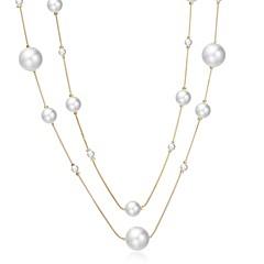preiswerte Halsketten-Damen Perle / Süßwasserperle Anhängerketten - Perle, Edelstahl, Süßwasserperle Modisch Weiß 147 cm Modische Halsketten Für Geschenk, Alltag