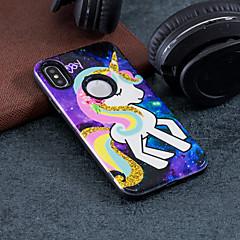 Недорогие Кейсы для iPhone-Кейс для Назначение Apple iPhone X / iPhone 8 Защита от удара / Рельефный / С узором Кейс на заднюю панель единорогом Твердый ПК для iPhone X / iPhone 8 Pluss / iPhone 8