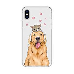 お買い得  iPhone 5S/SE ケース-ケース 用途 Apple iPhone X / iPhone 8 Plus パターン バックカバー 猫 / 犬 / ハート ソフト TPU のために iPhone X / iPhone 8 Plus / iPhone 8