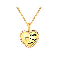 Недорогие Ожерелья-Муж. Жен. Ожерелья с подвесками  -  Мода Сердце Золотой Серебряный 55cm Ожерелье Назначение Повседневные